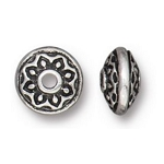 TierraCast Lotus Spacer Bead, Antique Silver